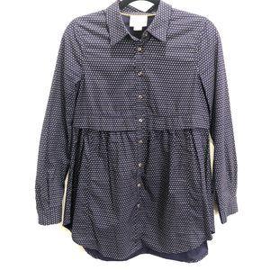 Maeve Navy Blue Button Front Shirt Dress Small